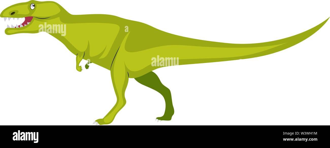 Big green dinosaur, illustration, vector on white background. - Stock Image