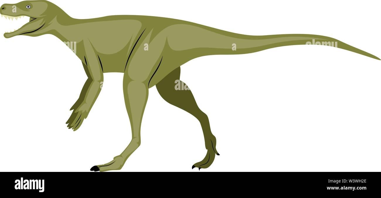 Green dinosour, illustration, vector on white background. - Stock Image
