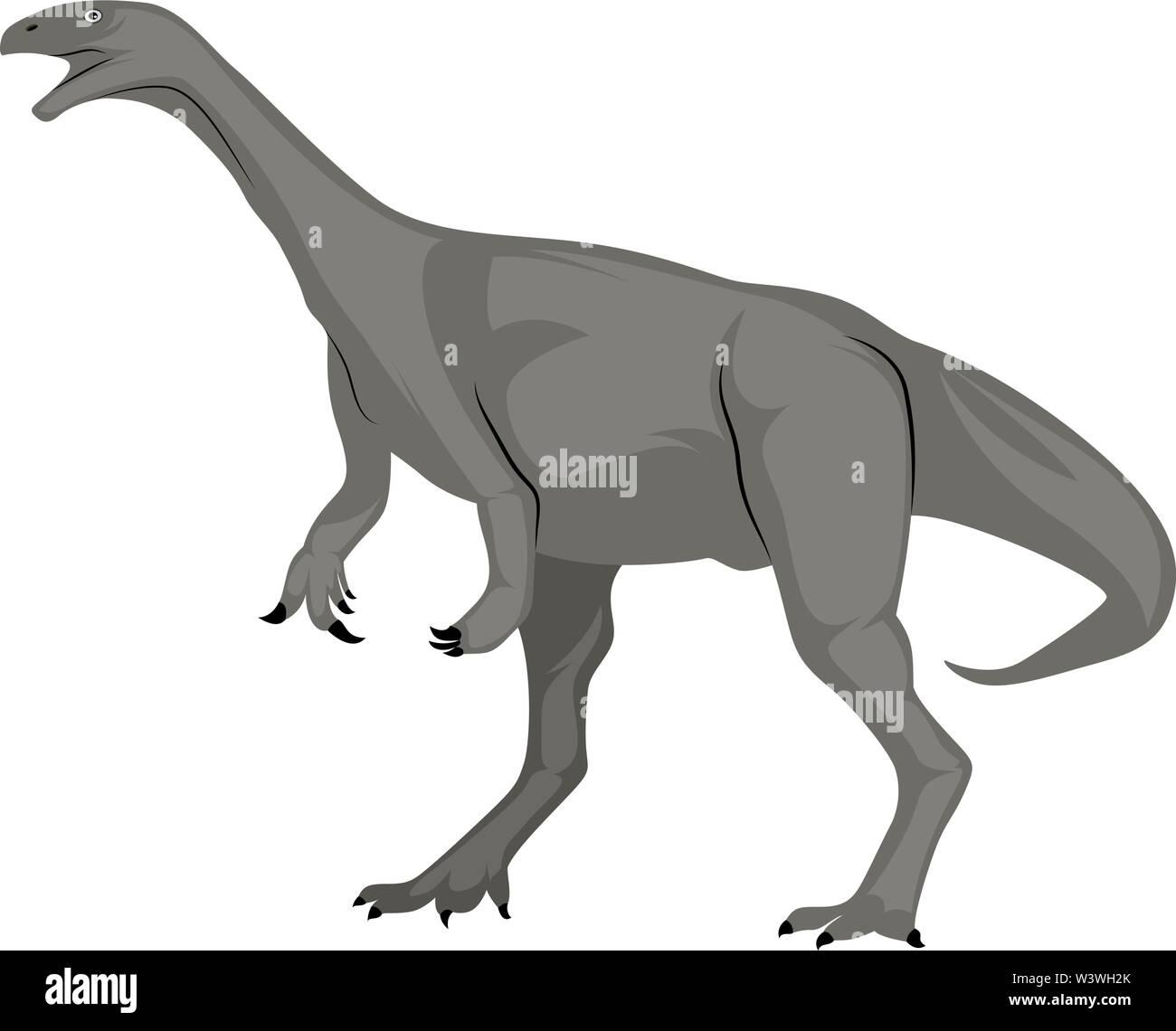 Grey dinosour, illustration, vector on white background. - Stock Image
