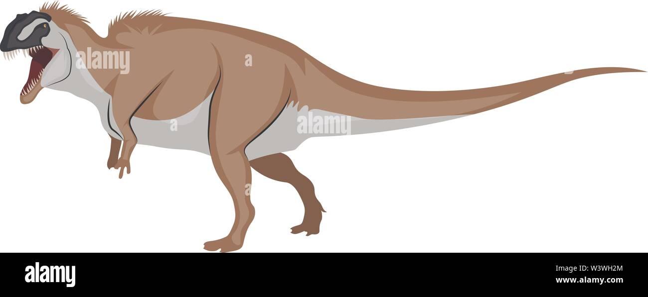 Big angry dinosaur, illustration, vector on white background. - Stock Image