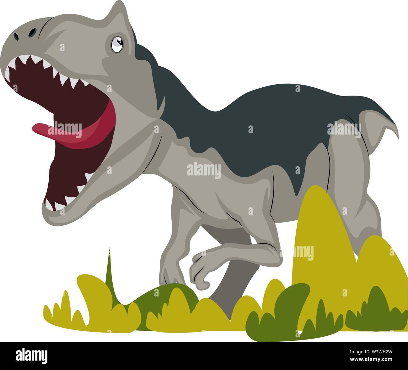 Dangerous dinosaur, illustration, vector on white background. - Stock Image