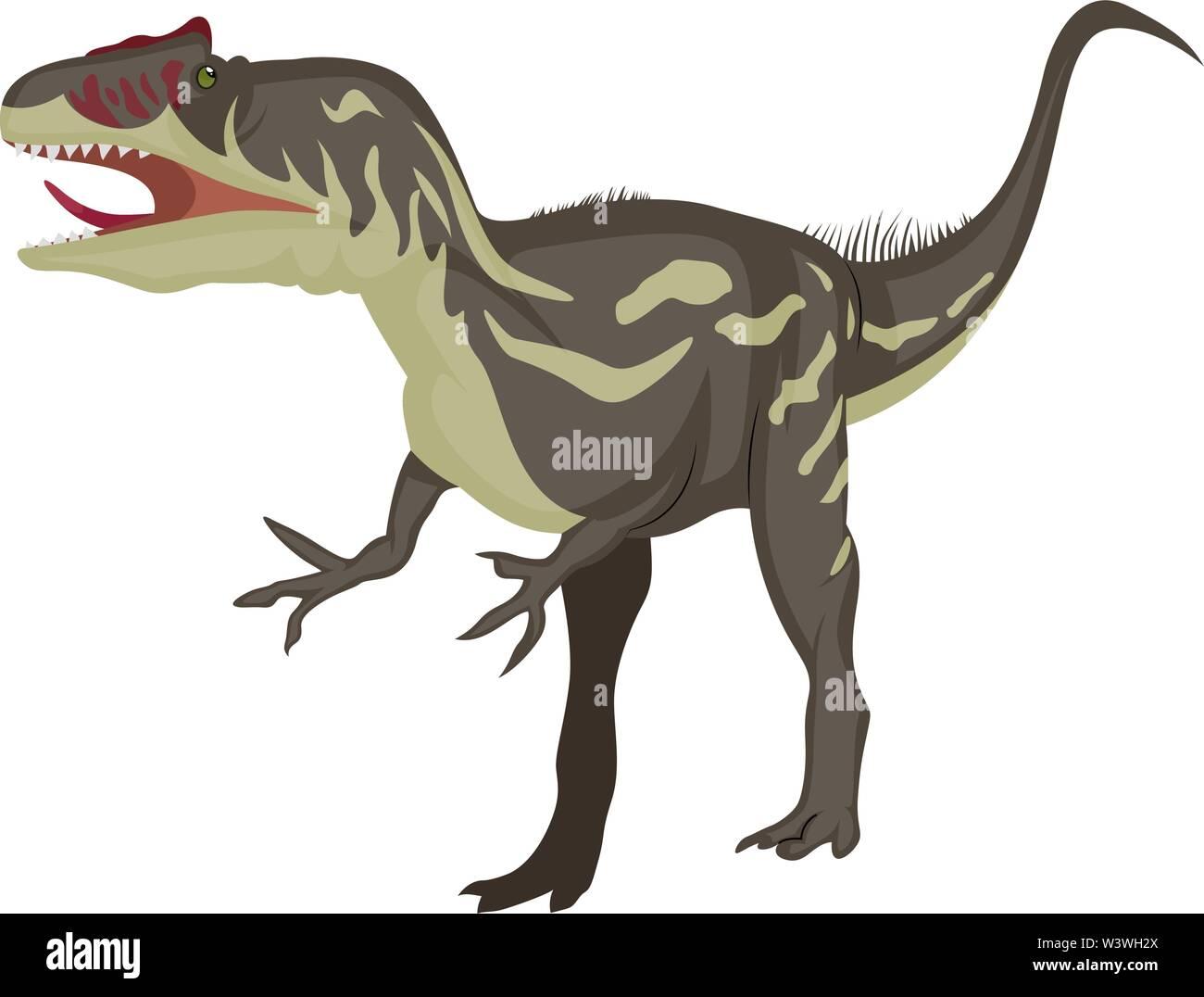 Allosaurus, illustration, vector on white background. - Stock Image