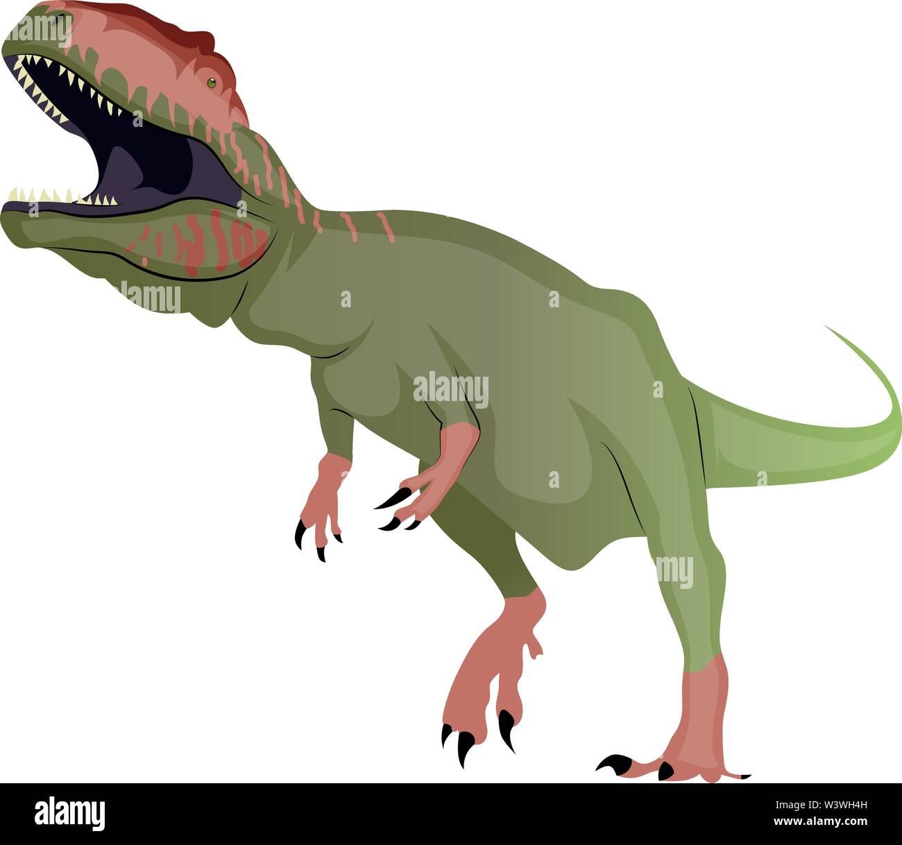 Giganotosaurus, illustration, vector on white background. - Stock Image