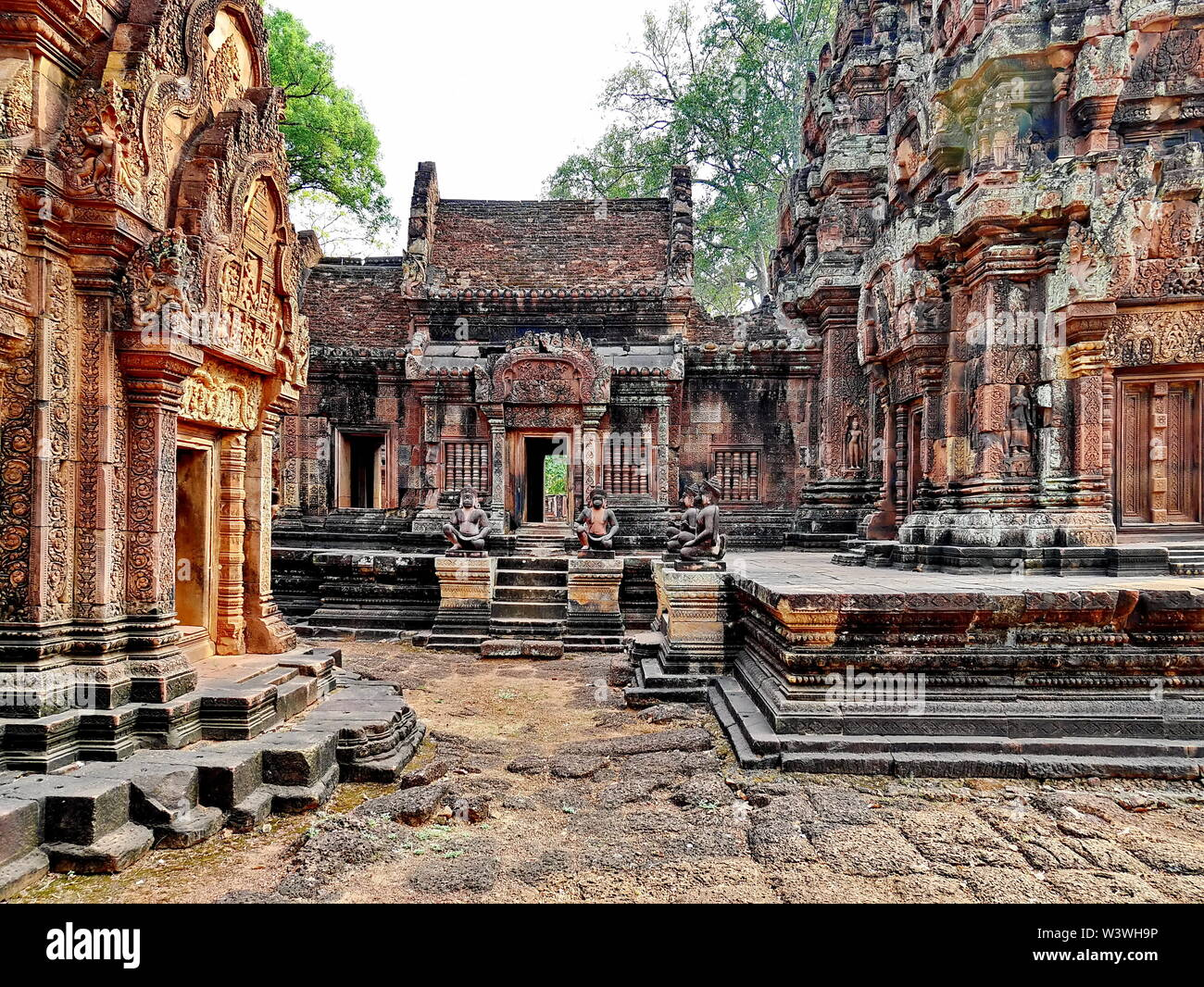 Banteay Srei Siem Reap Castle is one of the most  beautiful castles in Cambodia Construction of pink sandstone Carved into patterns related to Hinduis - Stock Image