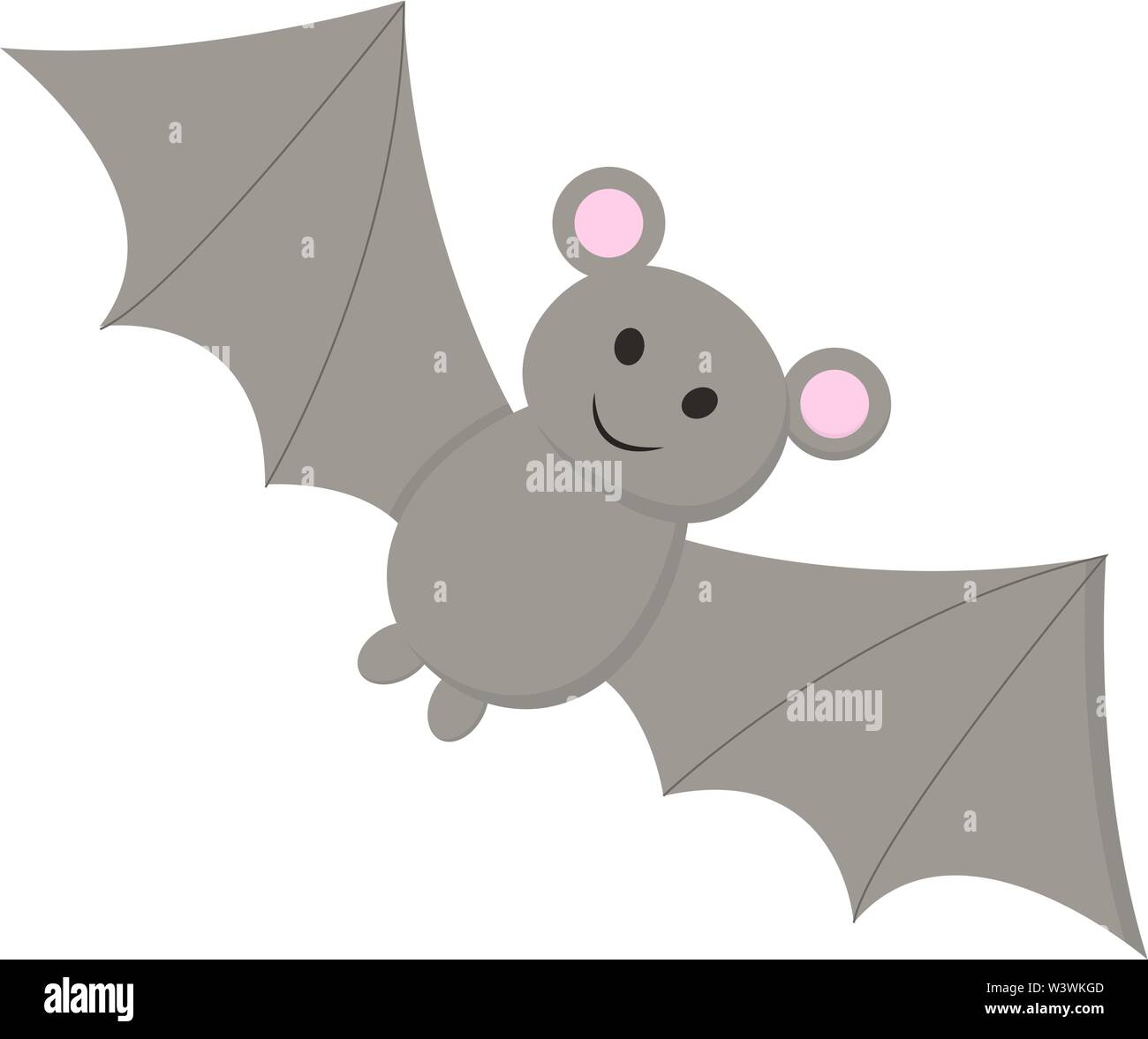 A black colored bat with two sharp teeth, vector, color drawing or illustration. - Stock Image