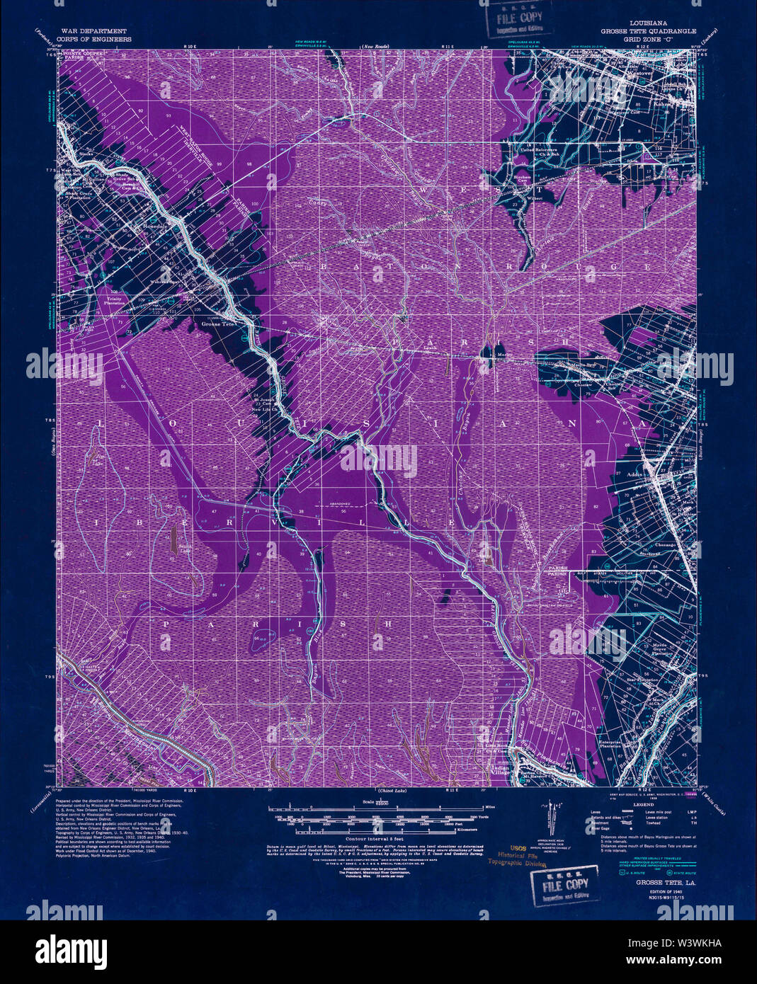 USGS TOPO Map Louisiana LA Grosse Tete 334613 1940 62500 Inverted Restoration - Stock Image