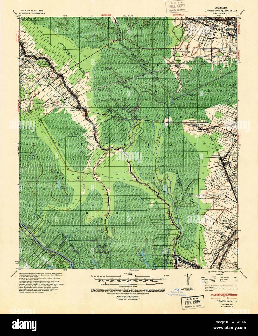USGS TOPO Map Louisiana LA Grosse Tete 334613 1940 62500 Restoration - Stock Image