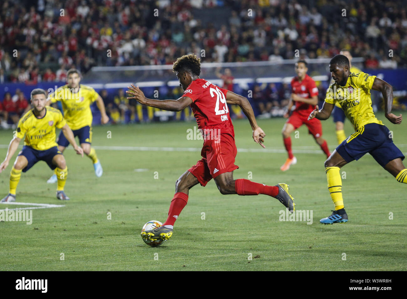 Los Angeles, California, USA. 17th July, 2019. Bayern Munich midfielder Kingsley Coman (29) drives the ball during the 2019 International Champions Cup (ICC) match between Arsenal and Bayern Munich in Carson, California, July 17, 2019. Arsenal won 2-1. Credit: Ringo Chiu/ZUMA Wire/Alamy Live News - Stock Image