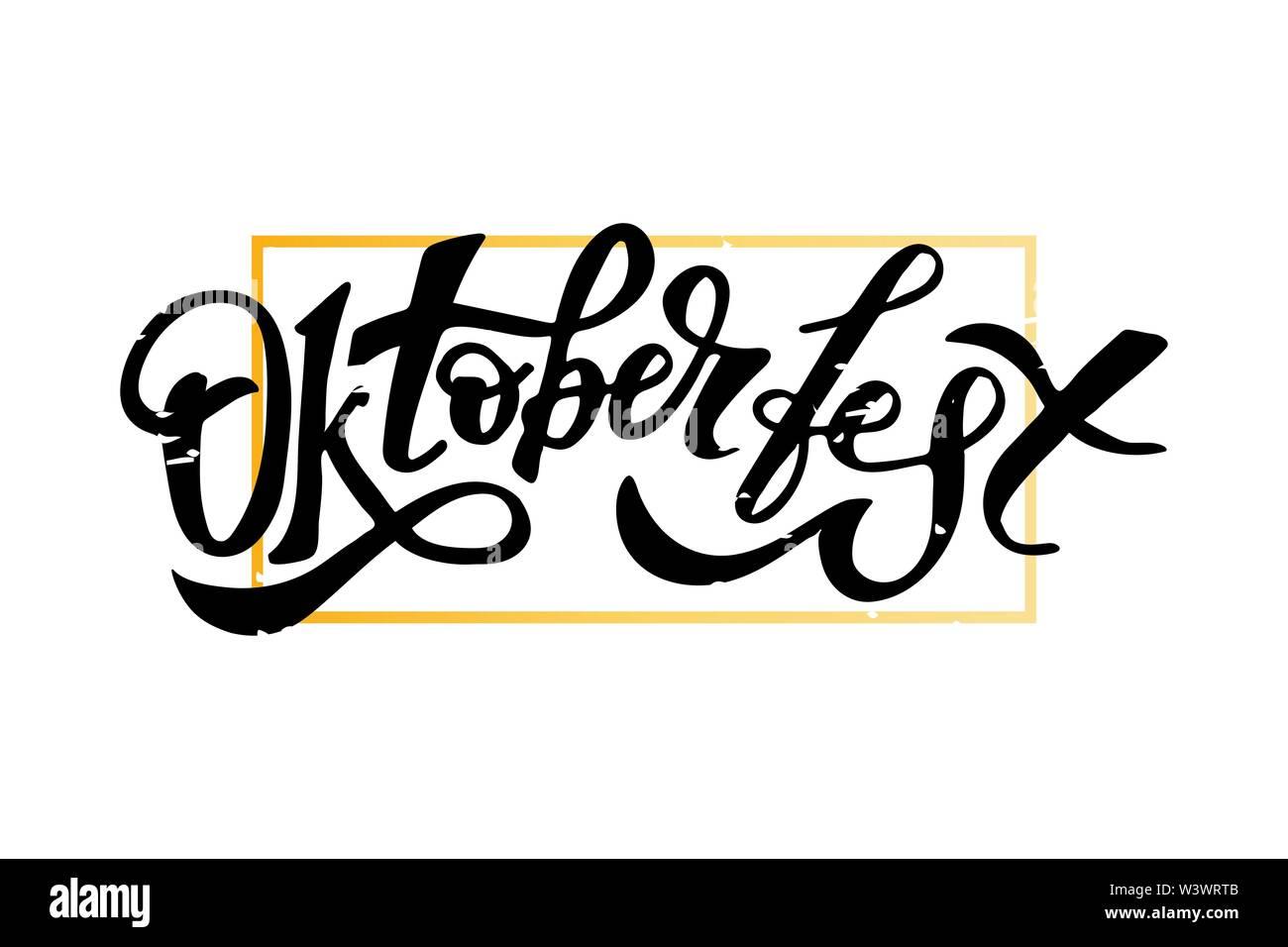 Oktoberfest lettering Calligraphy Brush Text Holiday Illustration - Stock Image