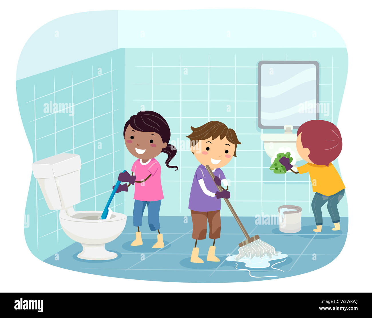 Illustration of Stickman Kids Cleaning the Bathroom from Toilet Bowl, Floor and Sink - Stock Image