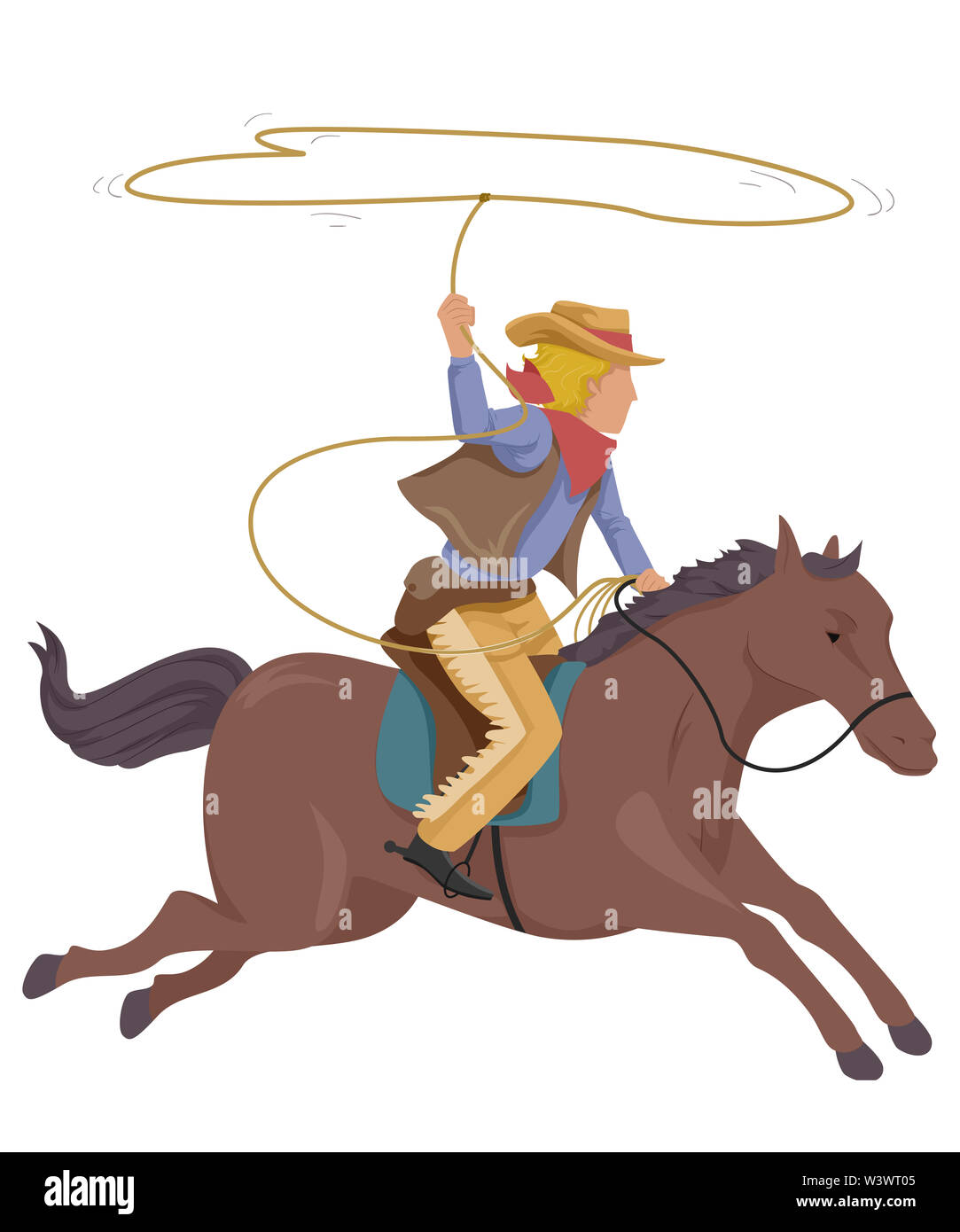 Illustration Of A Cowboy Man Riding A Horse And Throwing A Lasso Stock Photo Alamy