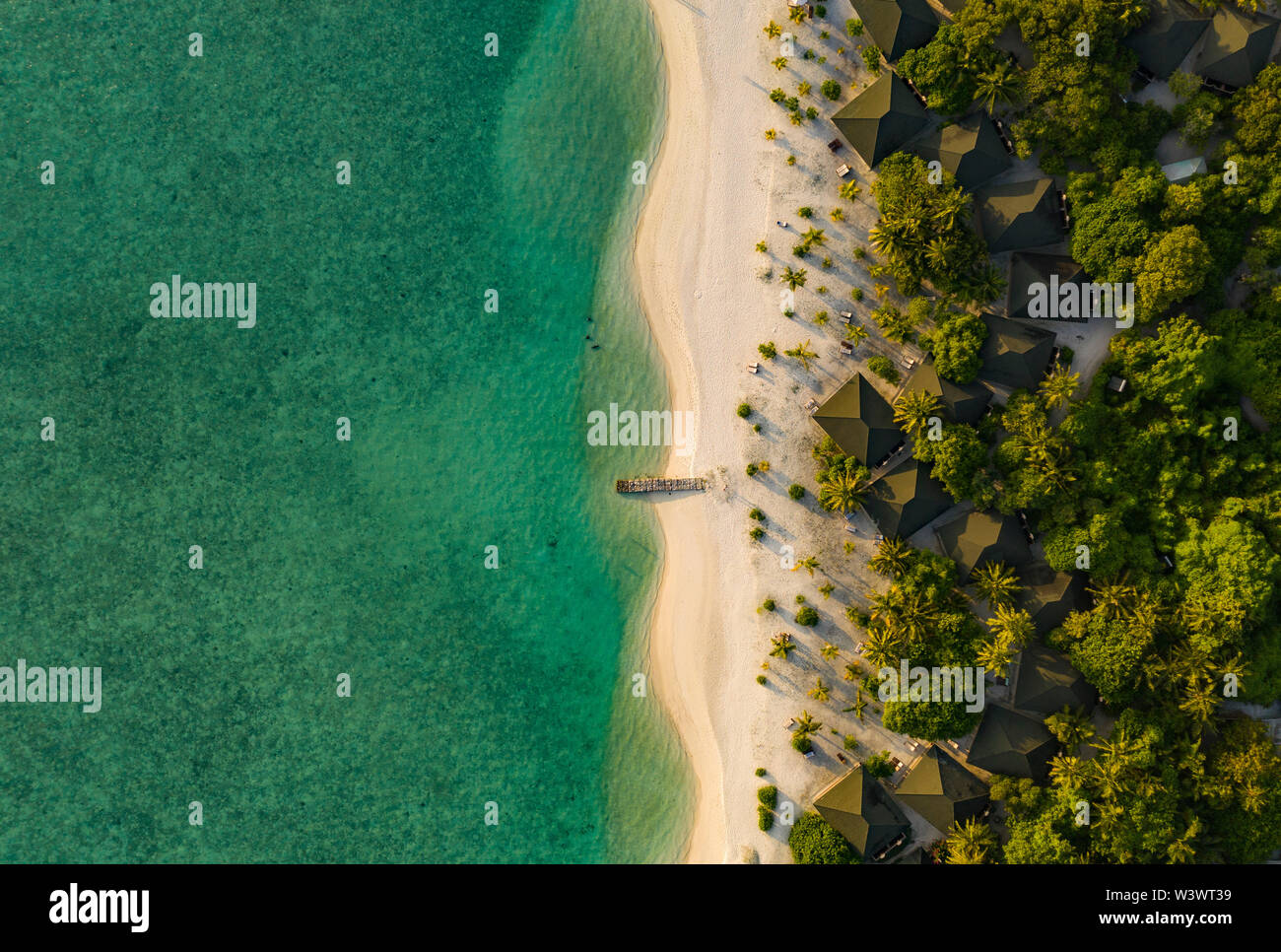 Amazing bird eyes view in Maldives Stock Photo