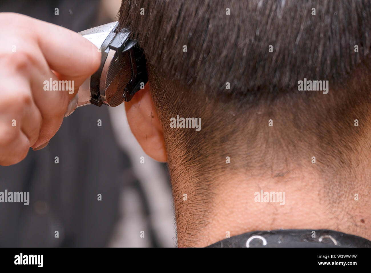Woman Hairdresser cuts man's hair with electric clipper trimmer. Selective focus - Stock Image