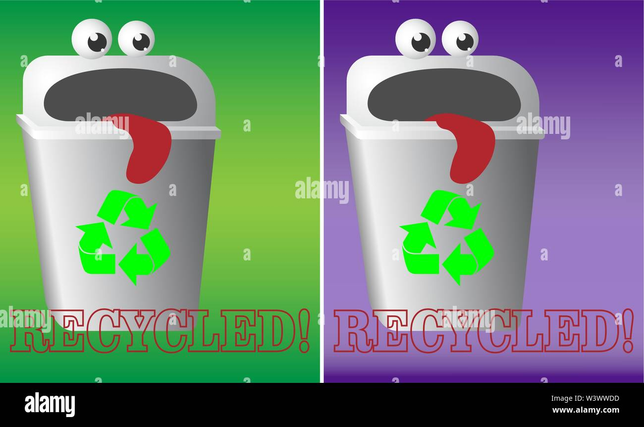 cartoon logo recycling garbage bin with eyes and tongue urn - Stock Image