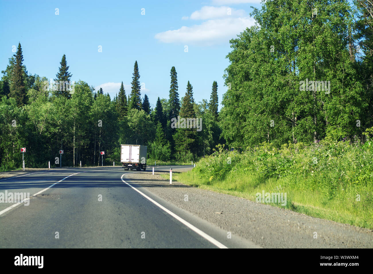 Asphalt road going through the forest on a summer sunny day. Around the green trees and Christmas trees. Clear blue sky. Horizontal photo. Journey - Stock Image