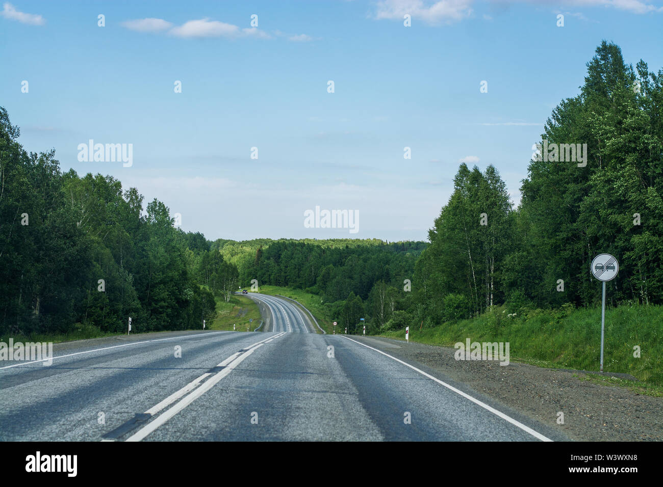 Asphalt road going through the forest on a summer sunny day. Around the green trees and Christmas trees. Clear blue sky - Stock Image