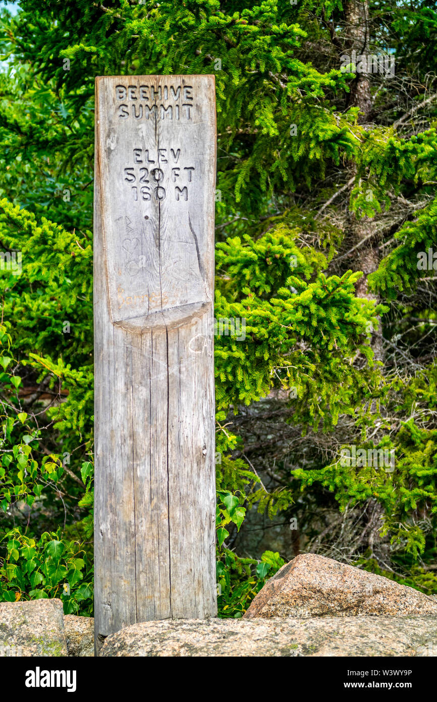 Acadia National Park, ME, USA - August 15, 2018: The Beehive Summit point of elevation - Stock Image