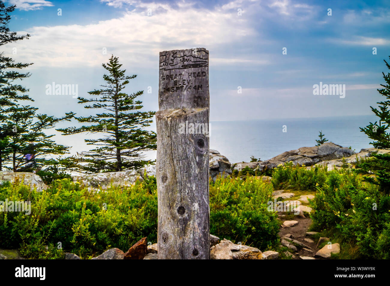 Acadia National Park, ME, USA - August 15, 2018: The Great Head Point of Elevation - Stock Image