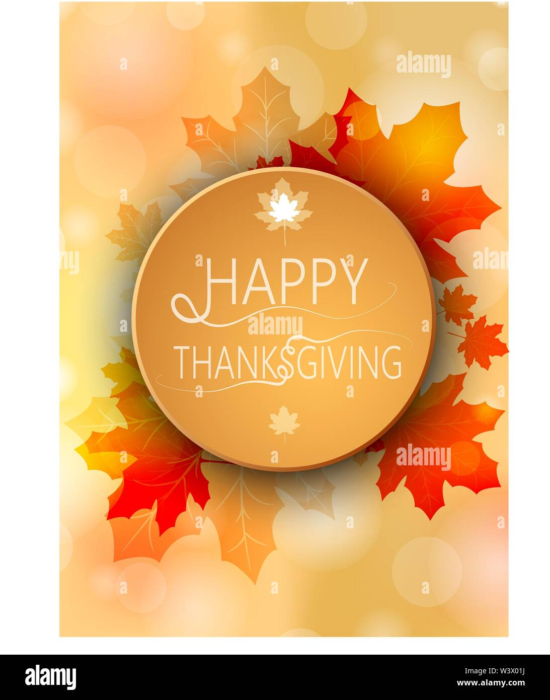 Banner Happy Thanksgiving on autumn round background. Vector illustration. - Stock Image