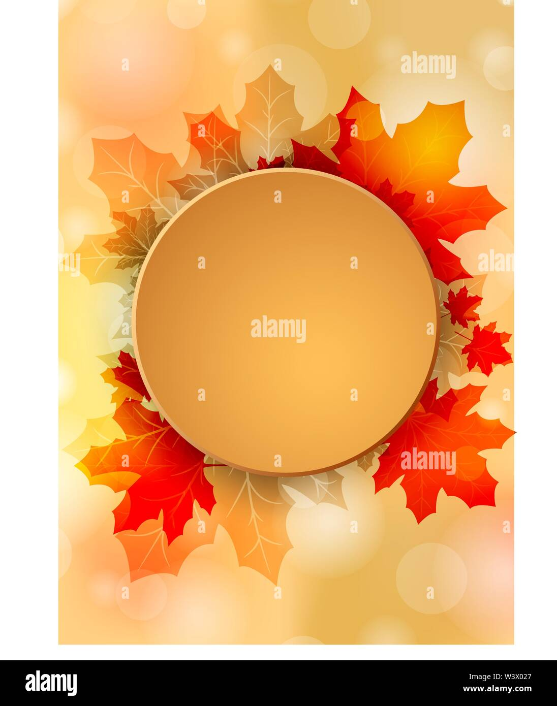 Autumn yellow background with place for text. Vector illustration - Stock Image