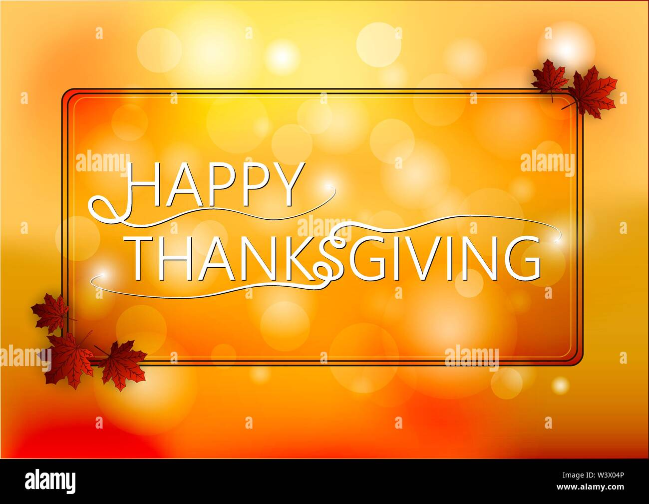 Happy Thanksgiving Day logo template on blur autumn background. Vector illustration. - Stock Image