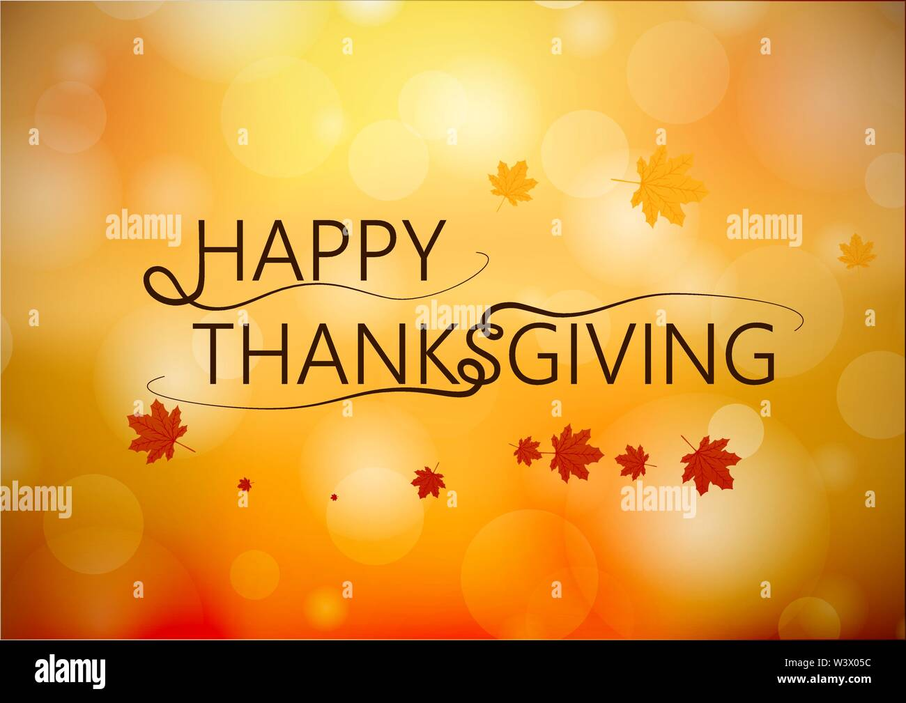 Banner Happy Thanksgiving on blur autumn background. Vector illustration. - Stock Image