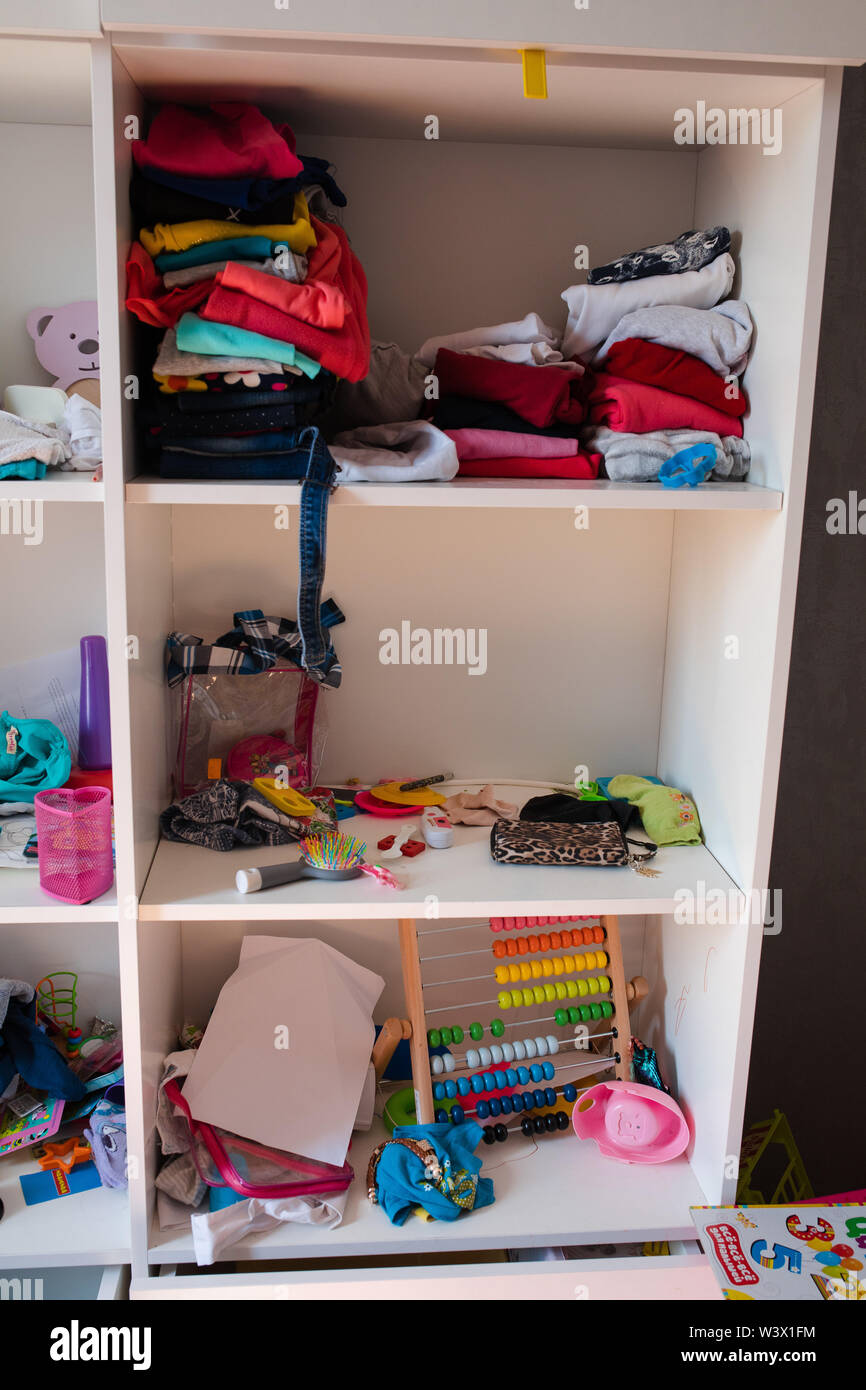 Messy kid\'s room in daylight.View over messy in the kid s ...