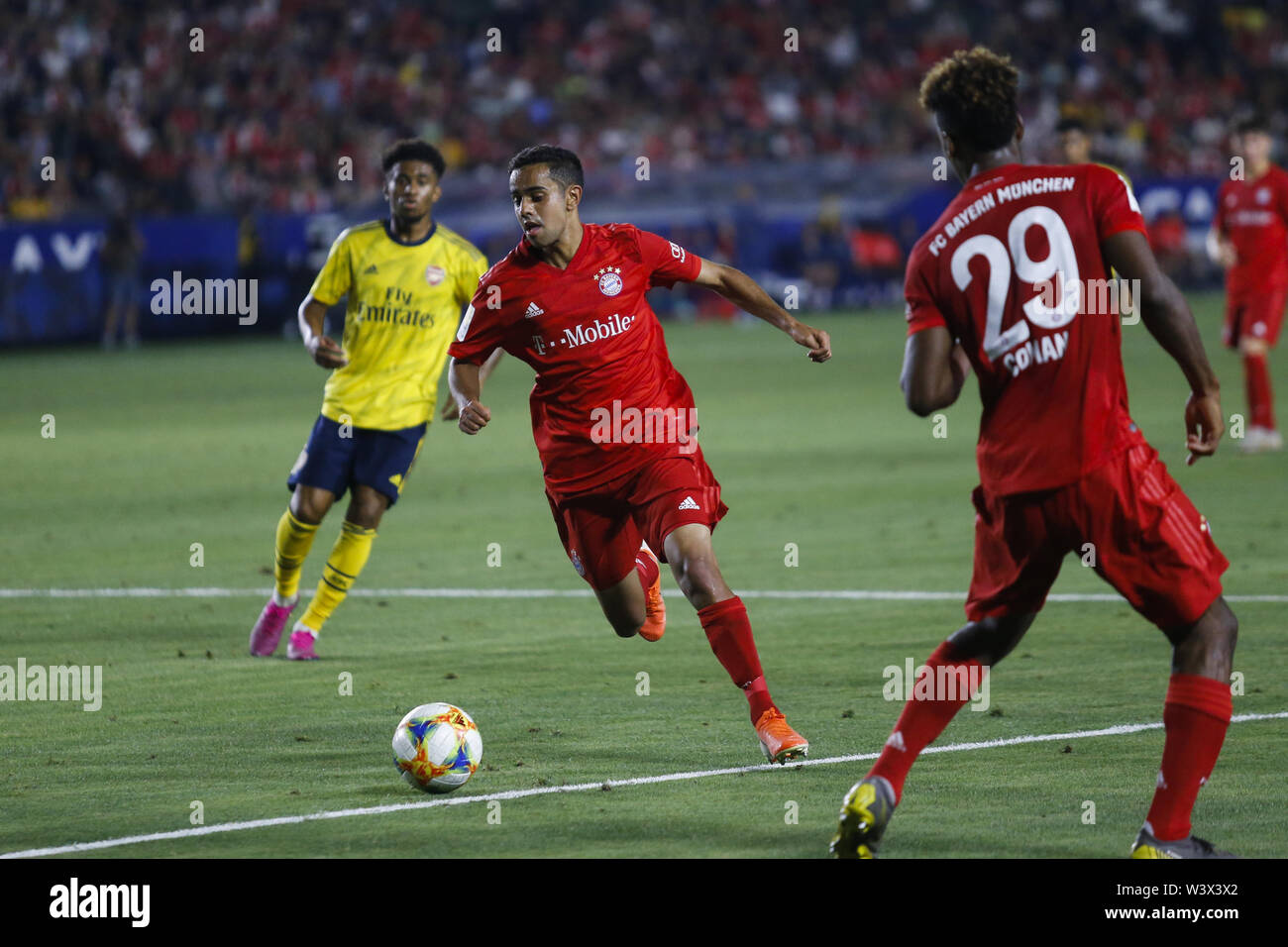 Los Angeles, California, USA. 17th July, 2019. Bayern Munich forward Sarpreet Singh (42) drives the ball during the 2019 International Champions Cup (ICC) match between Arsenal and Bayern Munich in Carson, California, July 17, 2019. Arsenal won 2-1. Credit: Ringo Chiu/ZUMA Wire/Alamy Live News - Stock Image