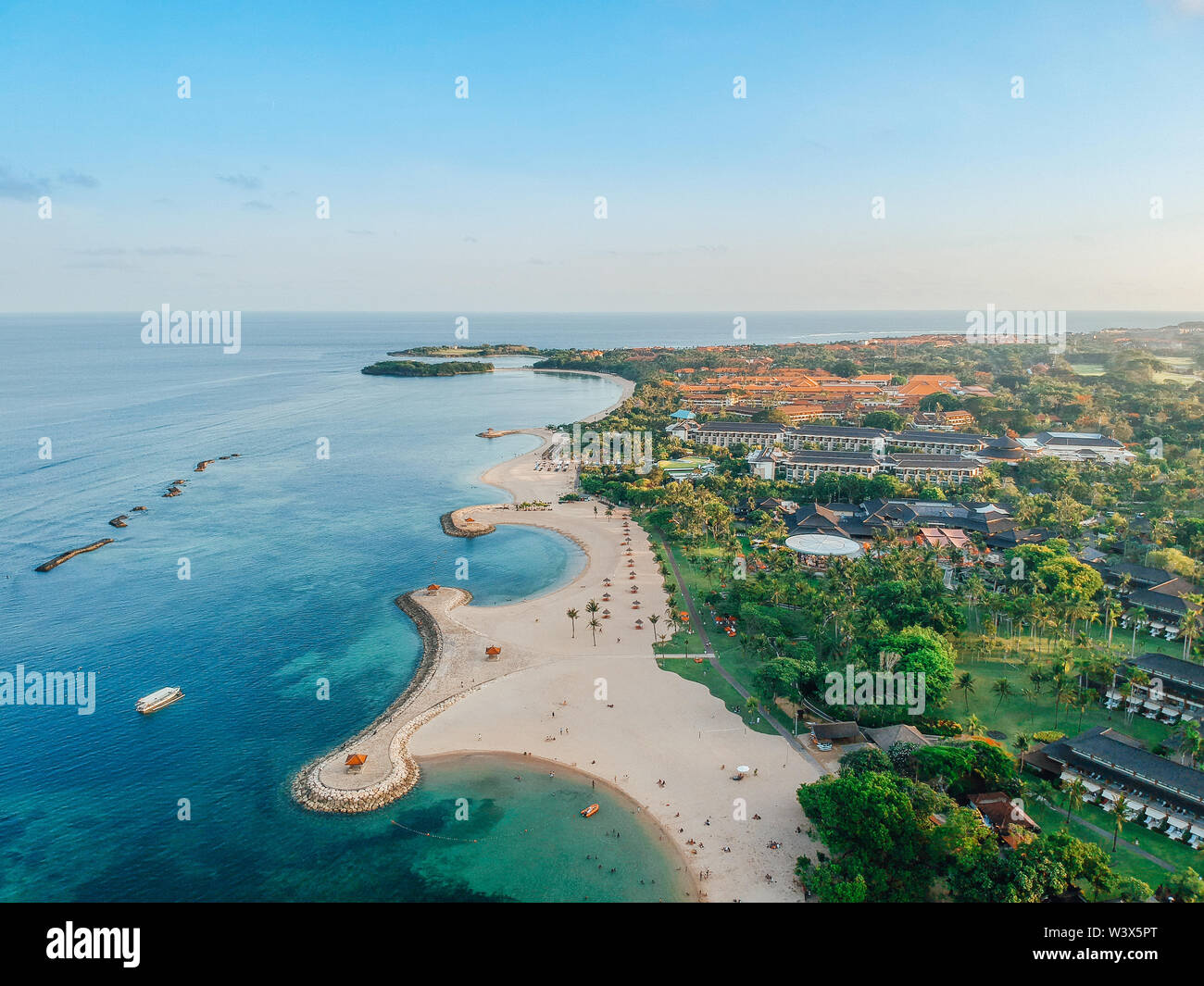 Aerial Drone View Of Holiday In Sanur Beach Bali Indonesia With Ocean Boats Beach Villas And People Stock Photo Alamy