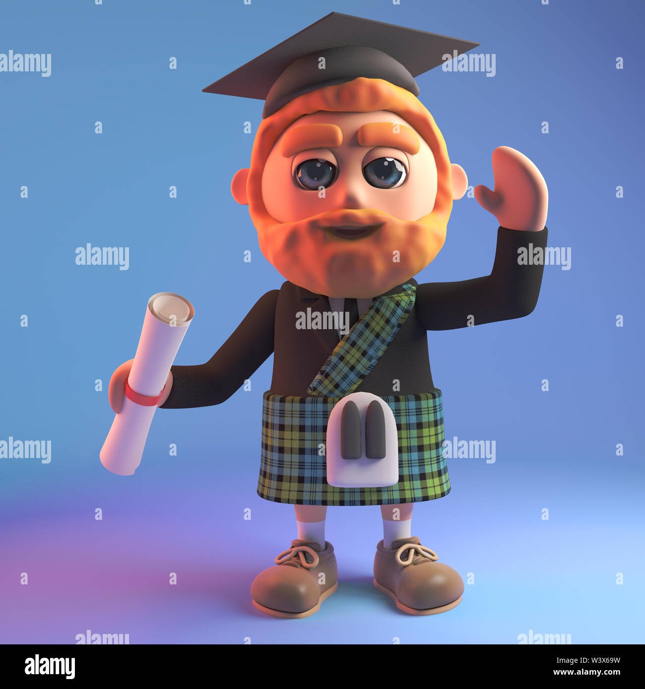 Educated Scottish man in 3d wearing a tartan kilt and mortar board holding a diploma, 3d illustration render - Stock Image