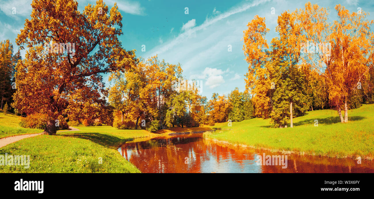 Autumn landscape scene - autumn trees near the river in sunny October park lit by sunlight. Panorama of autumn park in sunny weather, vintage filter a - Stock Image