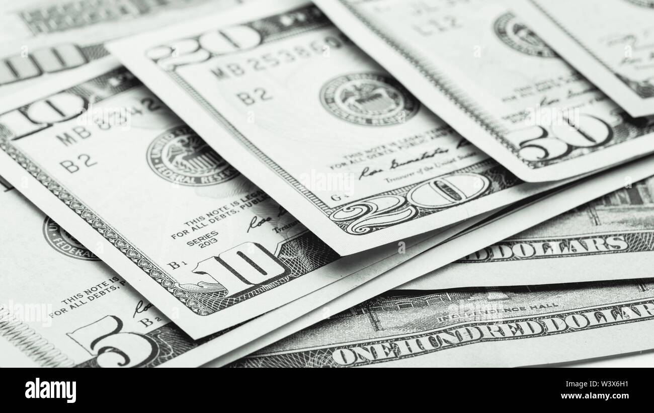 Currency US dollar banknotes close-up. Business photo - Stock Image