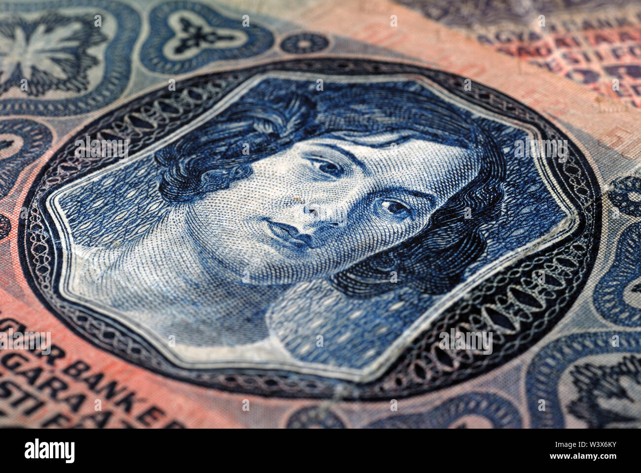 Fragment of fifty crowns banknote of the Austrian Empire 1914 selective focus. Shallow depth of field - Stock Image