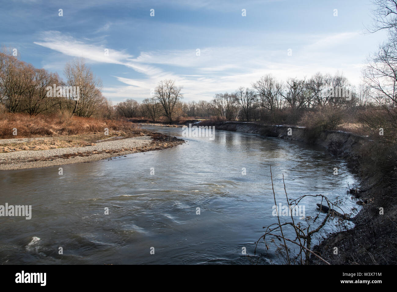 Odra river meander on Graniczne meandry Odry protected area on polish-czech borders near Bohumin and Chalupki during beautiful day with blue sky Stock Photo