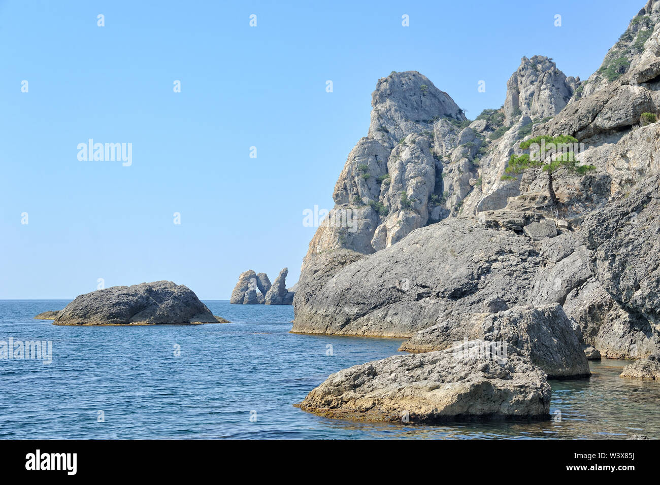 Cliffs and Lonely Pine Tree at the Edge of Karaul-Oba Mount Stock Photo
