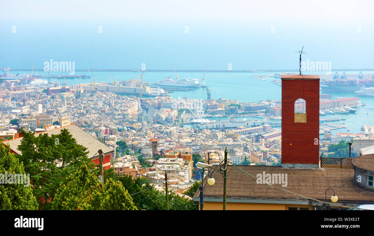 Panorama of Genoa city and Old Port, Italy - Stock Image