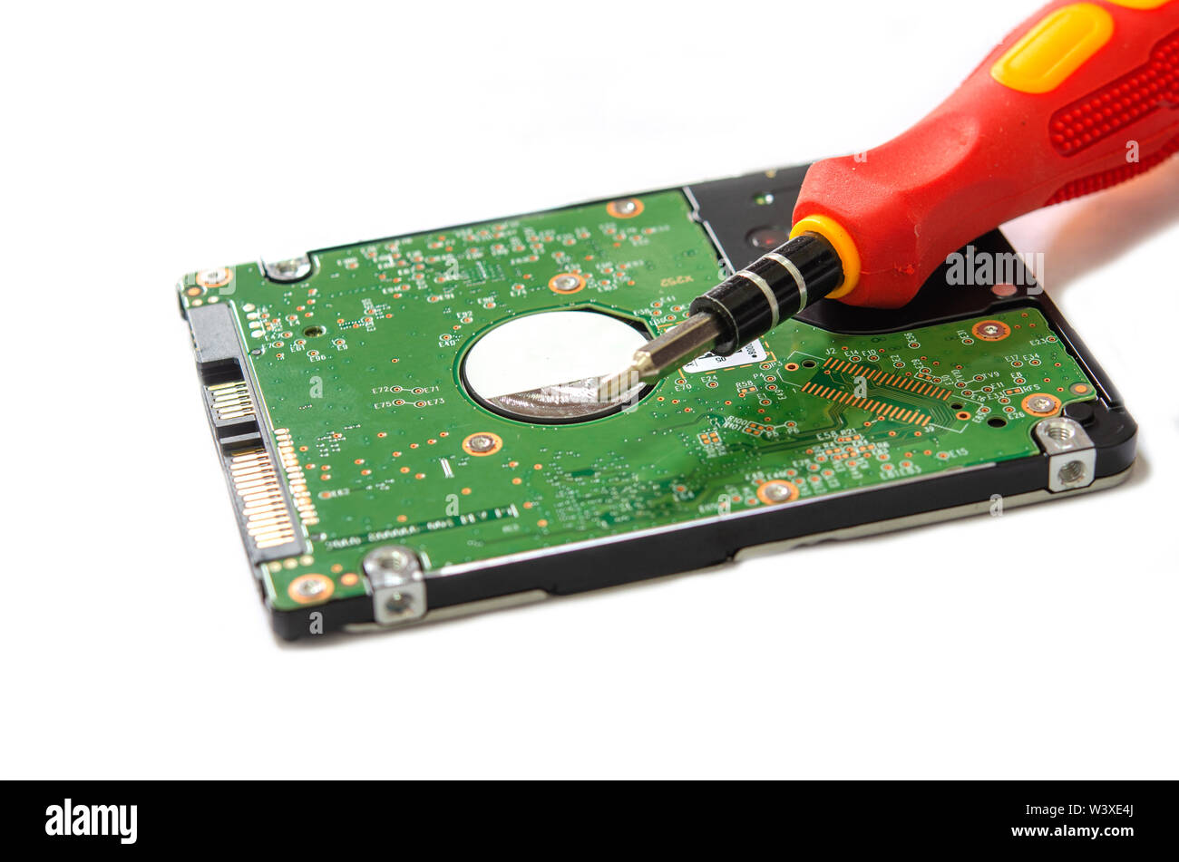 Hard drive notebook computers on the white background. - Stock Image