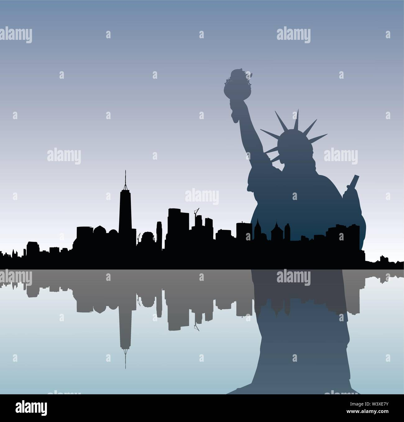 Silhouettes of Statue of Liberty and Manhattah skyline. - Stock Vector