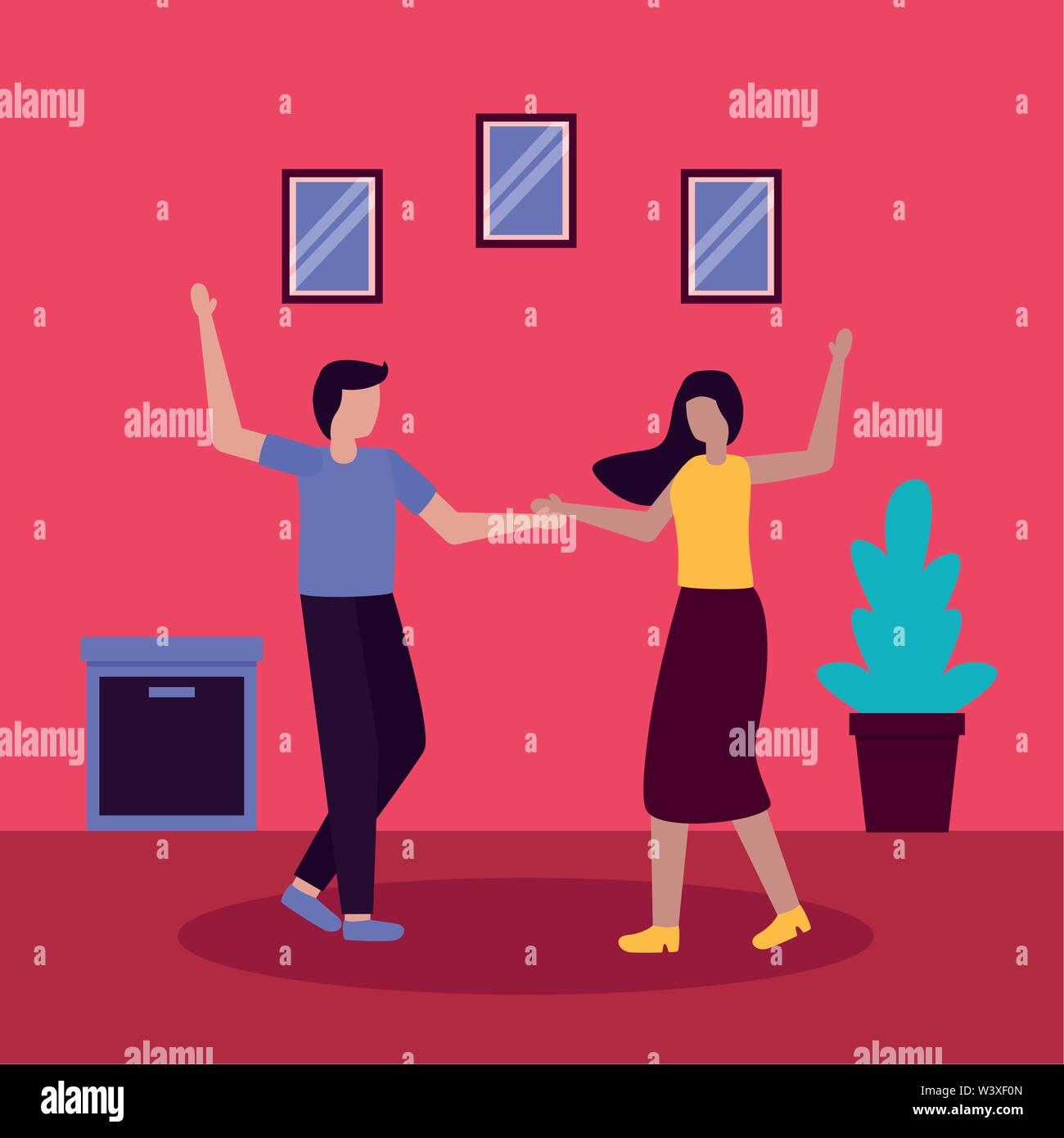 couple romantic activities flat design Stock Vector