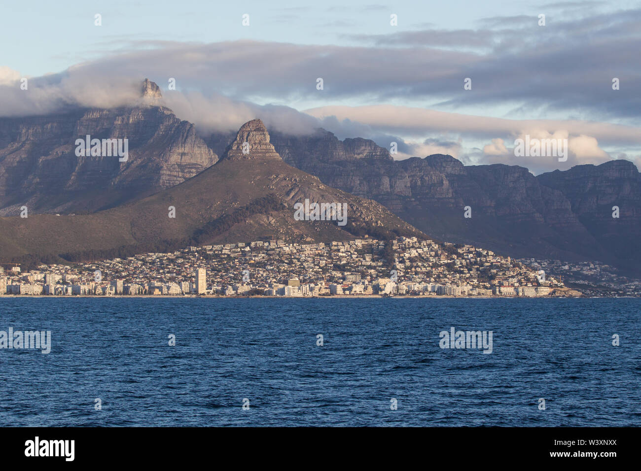 Cape Town, Western Cape, South Africa is among the most beautiful cities in the world, seen from Table Bay framed by Table Mountain and Lion's Head - Stock Image