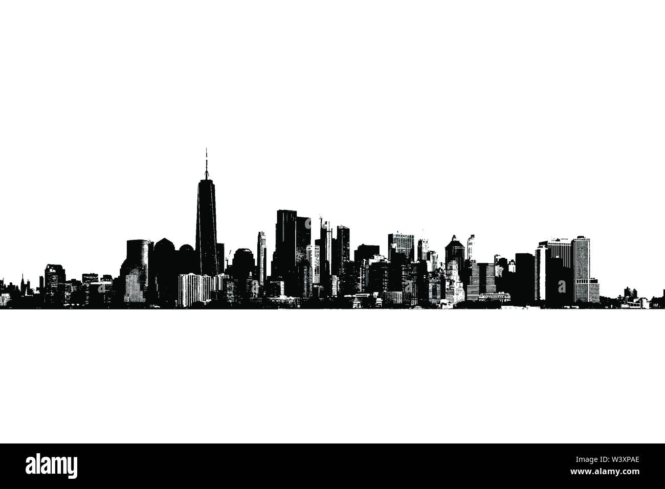 Silhouette of Manhattah skyline in black and white. - Stock Image