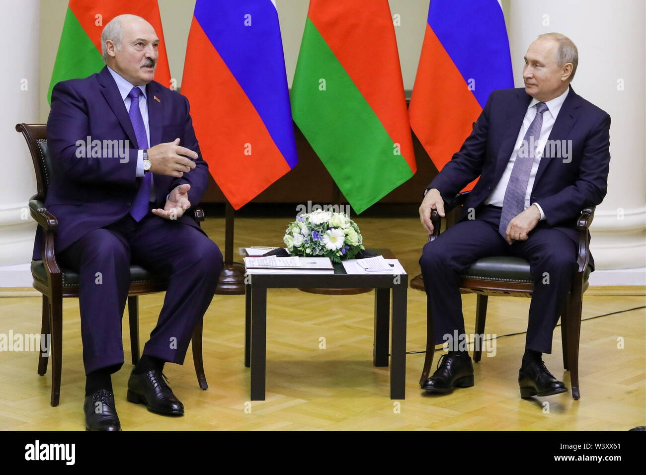 St Petersburg, Russia. 18th July, 2019. ST PETERSBURG, RUSSIA - JULY 18, 2019: Belarus' President Alexander Lukashenko (L) and Russia's President Vladimir Putin during a meeting at Tauride Palace. Mikhail Klimentyev/Russian Presidential Press and Information Office/TASS Credit: ITAR-TASS News Agency/Alamy Live News - Stock Image