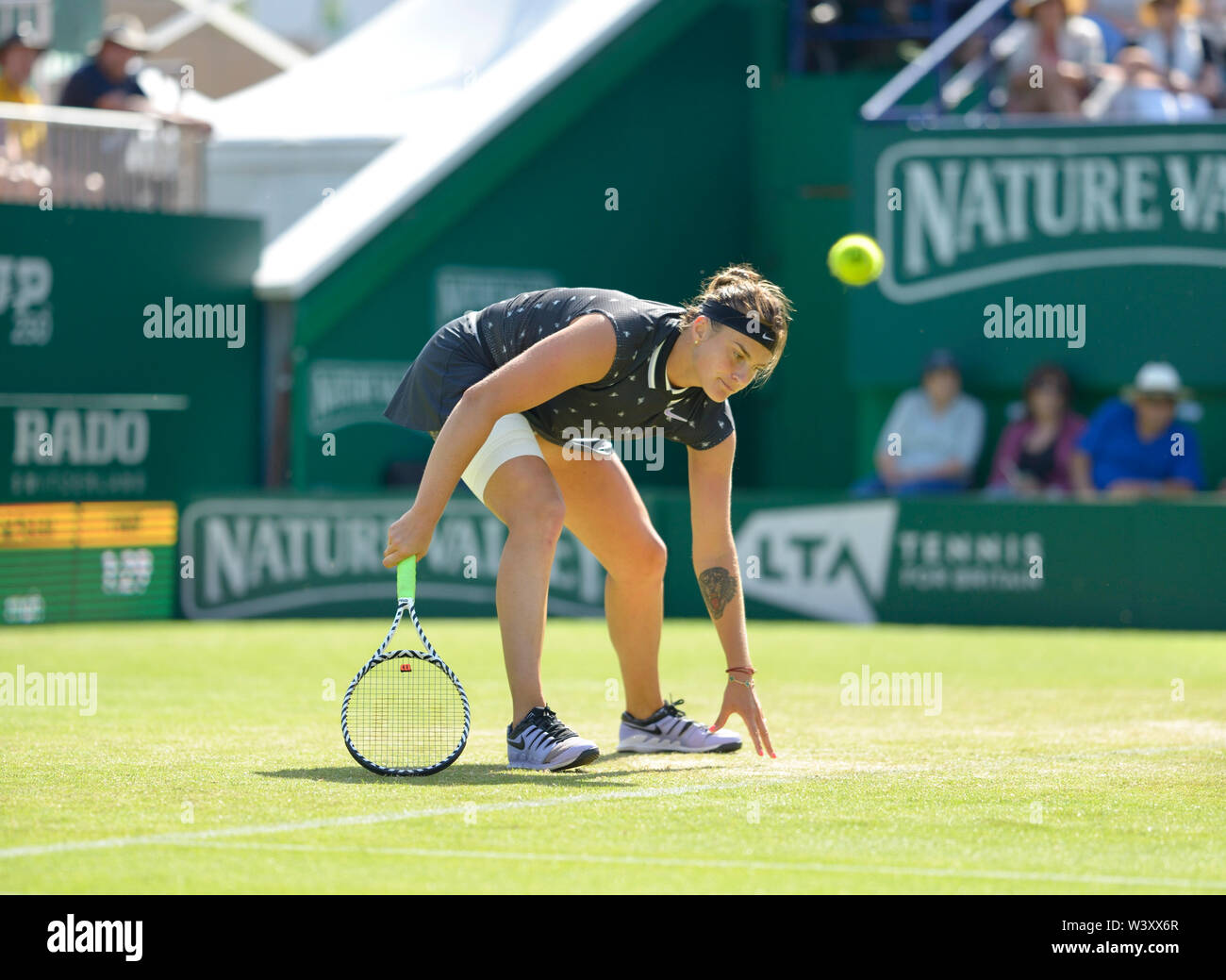 Aryna Sabalenka (Belarus) playing on centre court at the Nature Valley International, Devonshire Park, Eastbourne, UK.  27th June 2019 - Stock Image