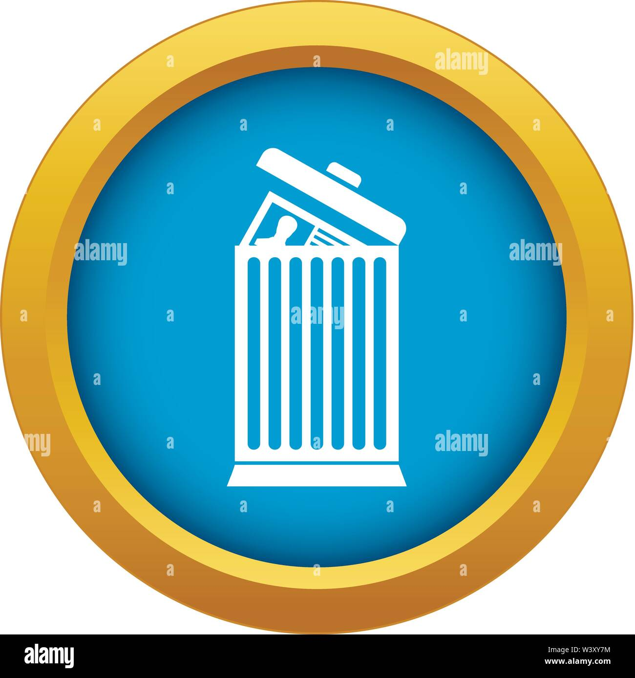 Resume thrown away in the trash can icon blue vector isolated - Stock Image