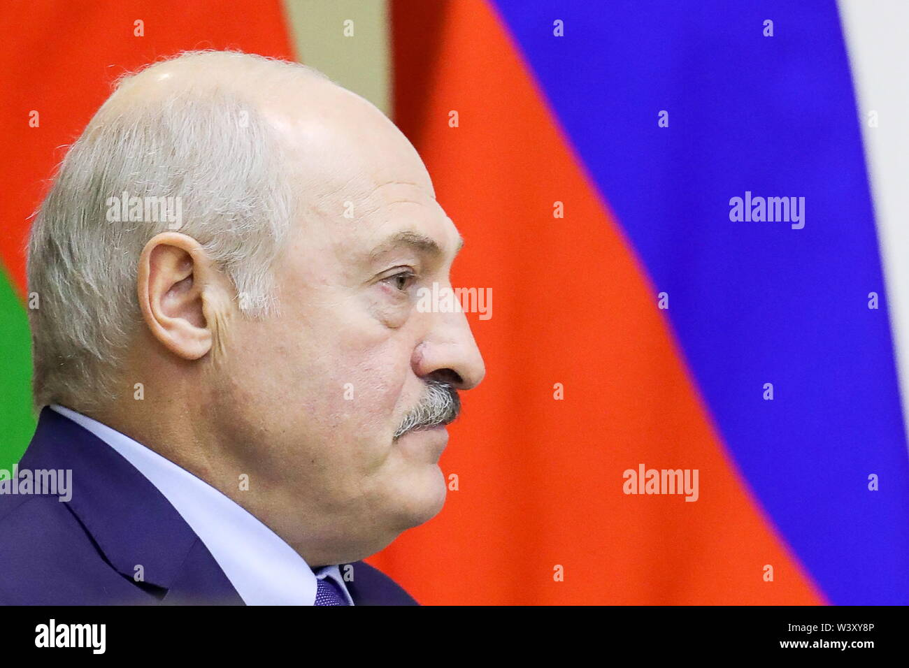 St Petersburg, Russia. 18th July, 2019. ST PETERSBURG, RUSSIA - JULY 18, 2019: Belarus' President Alexander Lukashenko during a meeting with Russia's President Vladimir Putin during a meeting at Tauride Palace. Mikhail Klimentyev/Russian Presidential Press and Information Office/TASS Credit: ITAR-TASS News Agency/Alamy Live News - Stock Image