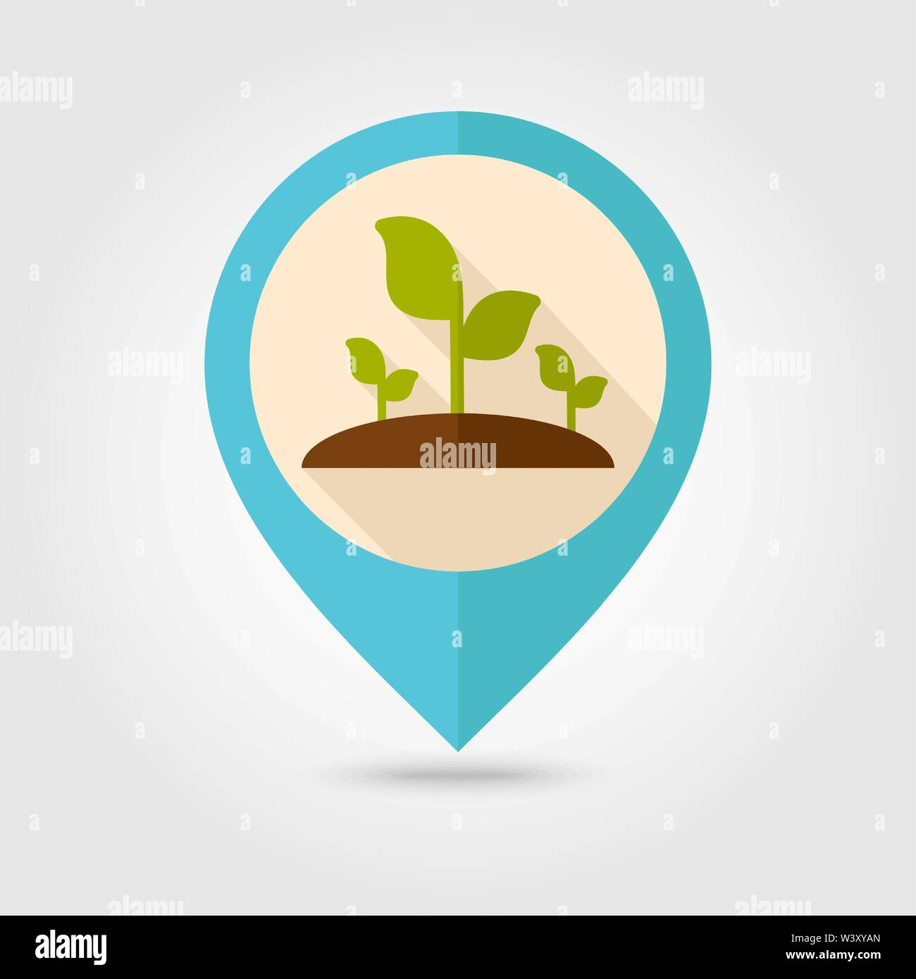 Plant sprout flat pin map icon. Map pointer. Map markers. Farm. Garden. Vector illustration eps 10 - Stock Vector