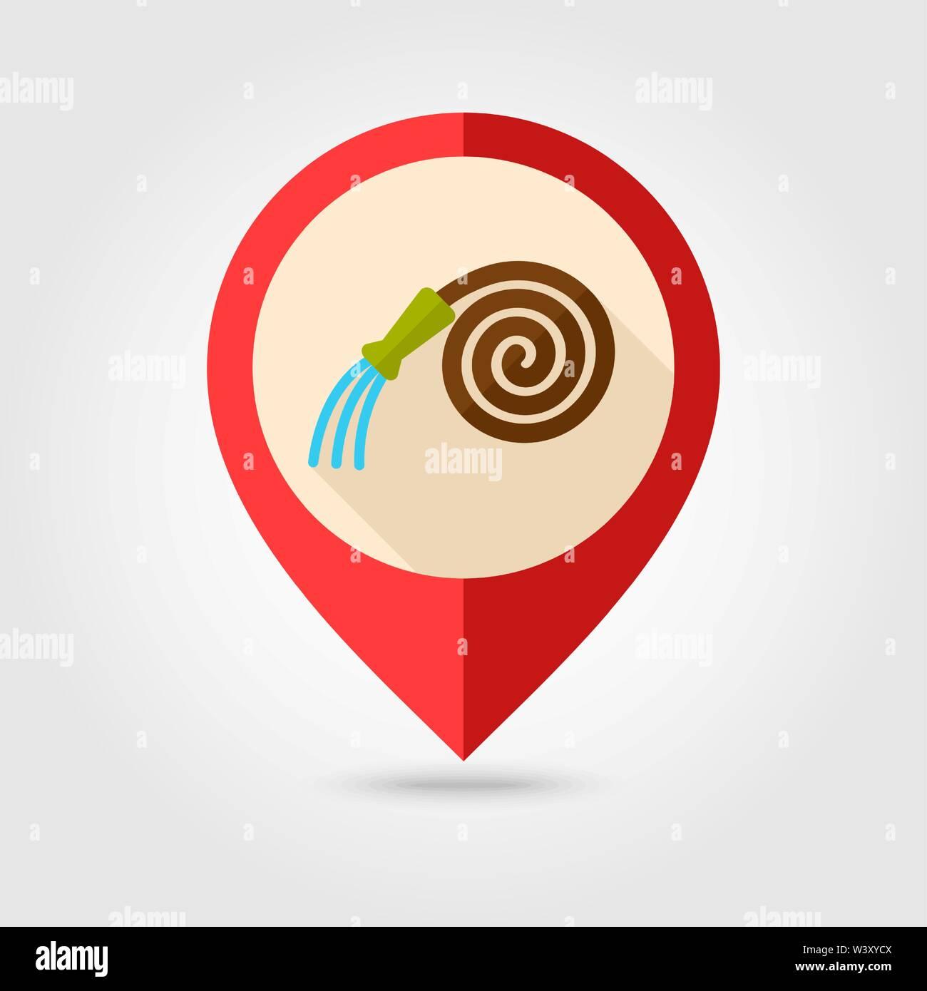 Garden Hose flat pin map icon. Map pointer. Map markers. Farm. Garden. Vector illustration eps 10 - Stock Vector