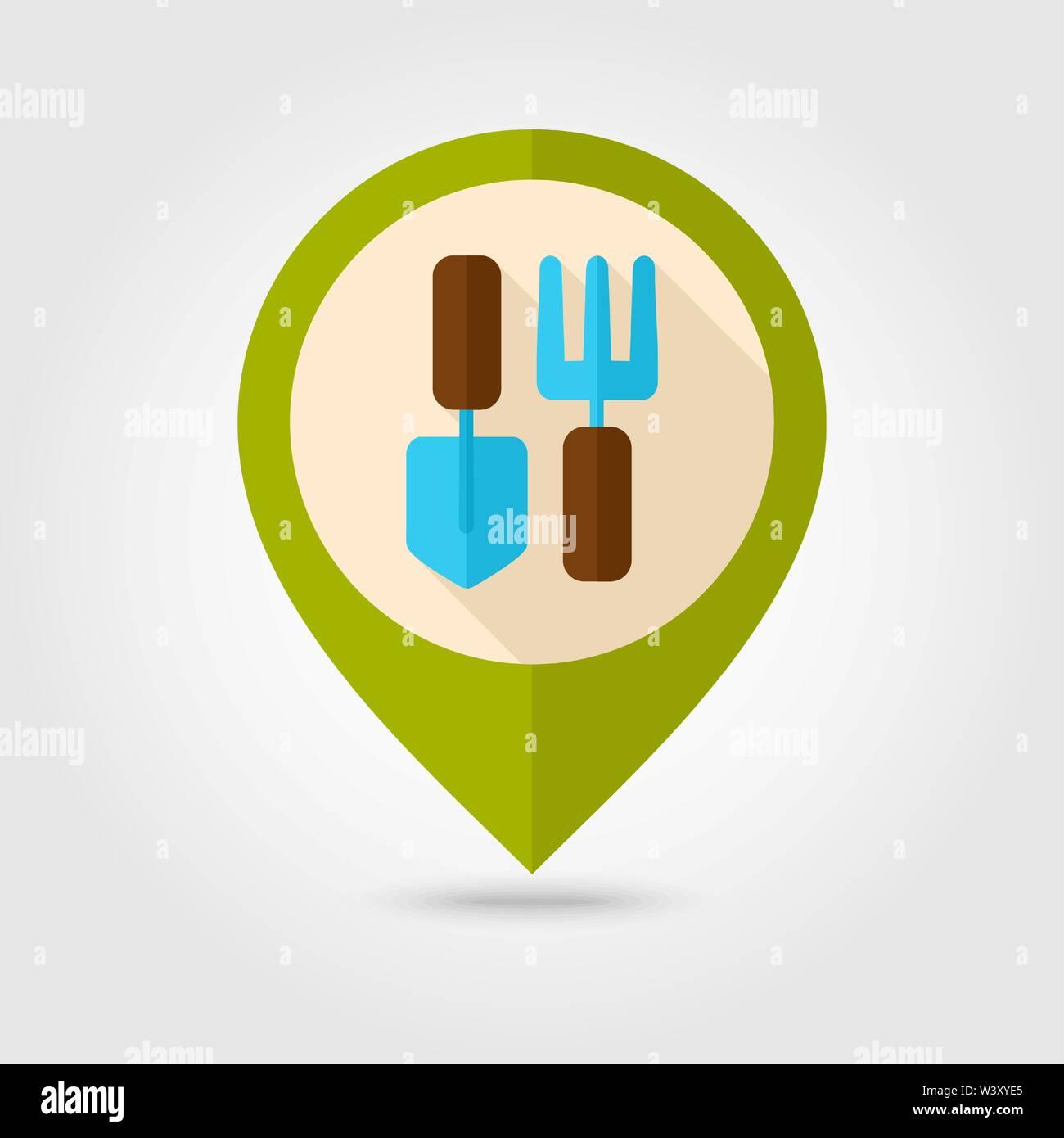 Garden fork, garden shovel, pitchfork, garden tool flat pin map icon. Map pointer. Map markers. Farm. Garden. Vector illustration eps 10 - Stock Vector