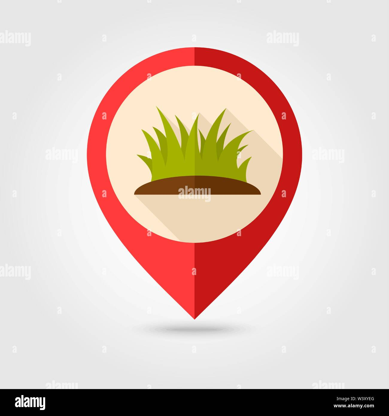 Grass flat pin map icon. Map pointer. Map markers. Farm. Garden. Vector illustration eps 10 - Stock Vector