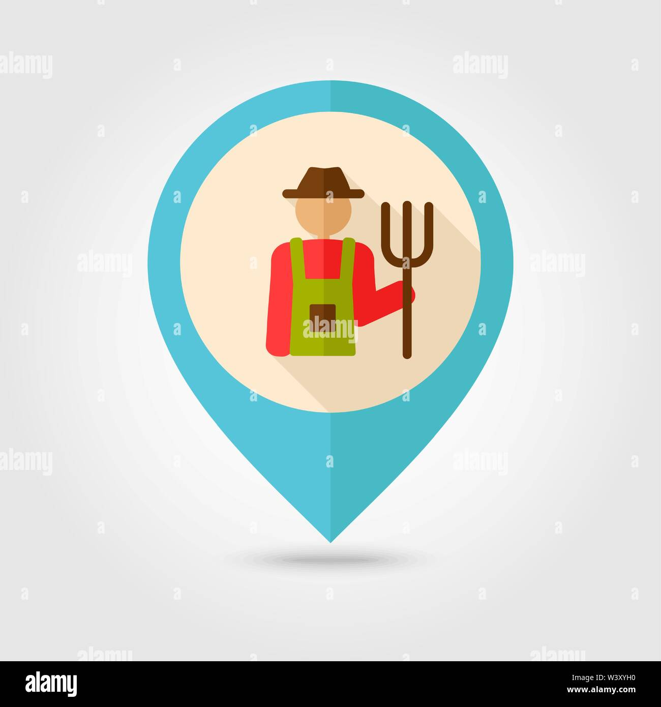 Farmers flat pin map icon. Map pointer. Map markers. Farm. Garden. Vector illustration eps 10 - Stock Vector